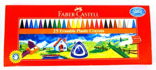 Faber-Castell  25 Erasable Plastic Crayons  Assorted Shades   70 mm each