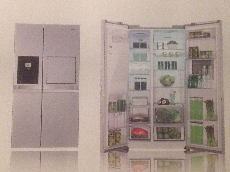 LG amerikaner køleskab, alle papirer, 100% OK