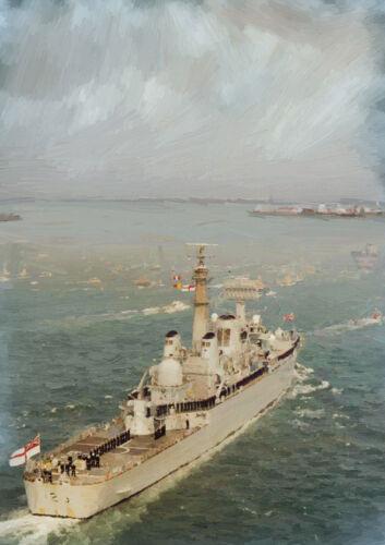 25 mano acabado arte de edición limitada HMS Bristol/'82 retorno/'