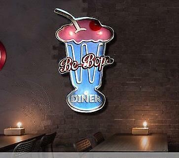 Retro Hang Sign Led Light Cherry Soda Float Home Bakery Store Decor Wall Art Tin
