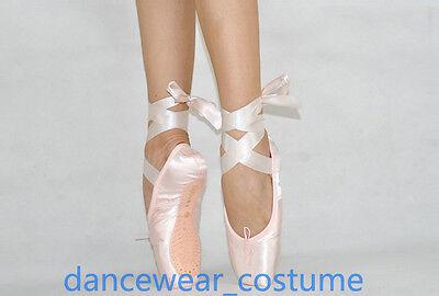 Neu Damen Kinder Ballett Spitzenschuhe Spitzentanz Ballettschuhe mit Band E-13W