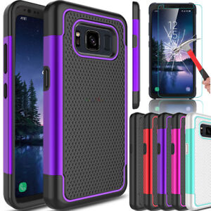 For-Samsung-Galaxy-S8-Active-Hybrid-Armor-Hard-Phone-Case-Glass-Screen-Protector