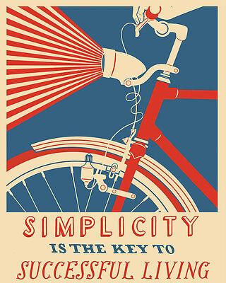 Vintage Art Print Poster A1 A2 A3 A4 A5 Bike Simplicity Key Successful Living