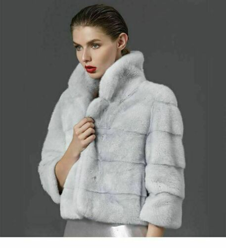 Gray Cropped Mink Fur Coat 4//5 Sleeves Notched Collar Gray or Brown Color Saga