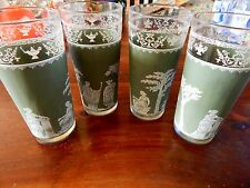 4 Vintage Jeannette Drinking Glasses Wedgwood Green Tumblers Jasperware Hellenic