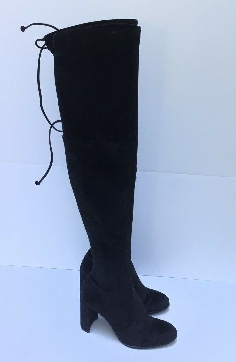 Authentic  Stuart Weitzman Highchamp Velvet Over-the-Knee Boot Black SZ 5