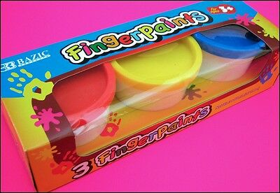 Kids Finger Paints Pack 3 Primary Colors 80ml Pots Holiday Craft Activity