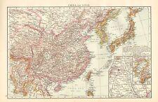 1895 LARGE VICTORIAN MAP ~ CHINA & JAPAN ~ ENVIRONS PEKING TOKIO TOKYO HONDO