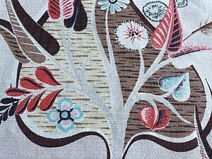 SALE-Mid-Century-Atomic-Dandelions-Barkcloth-Vintage-Fabric-Drape-Curtain-1950s