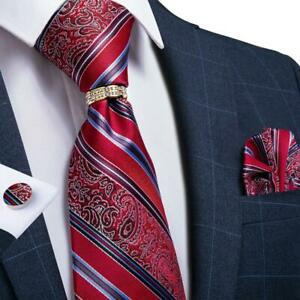 Mens-Red-Paisley-Striped-Silk-Necktie-Gold-Silver-Diamond-Tie-Ring-Hanky-Set