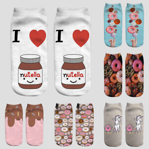 Details About Women Funny Food Fruit Print 3d Socks Kawaii Ankle Socks Licorne Emoticon Socks