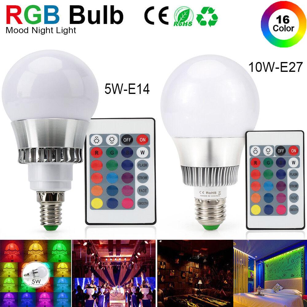 5W 10W RGB LED Birne E14 E27 Lamp Dekor Party Bühne Lampe Licht+IR-Fernbedienung