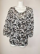 Talbots Petites Size 12P Semi-Sheer 100% Silk Print Blouse & Black attached Cami
