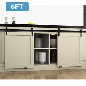 2-3-4-5-6-6FT-Steel-Sliding-Barn-Door-Hardware-Kits-Antique-Track-Roller-Cabinet