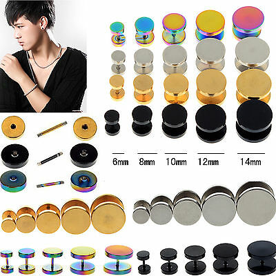 Cool Stainless Steel Fake Cheater Ear Plug Gauge Illusion Body Piercing earring