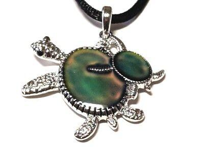 NEW Rhinestones Turtle Color Change Heat Thermo Mood Pendant Necklace