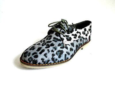Spot On f8857 Mujer Gris Estampado Leopardo Encaje Zapatos (32b)
