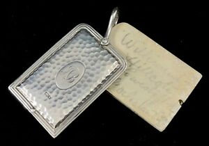 STERLING-SILVER-ART-AND-CRAFTS-HAMMERED-DECORATION-CHATELAINE-AIDE-MEMOIRE