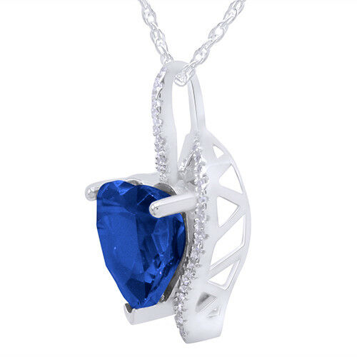 Saphir bleu cœur Collier pendentif avec chaîne argent 4.10 ct