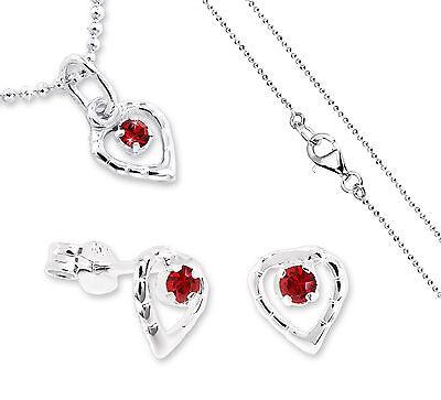 VASCAYA Schmuck Set Herz Ohrring Anhänger Kette 38 cm Silber 925 Kristall rot   eBay