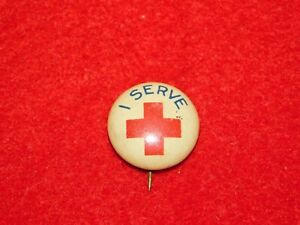 VINTAGE-PINBACK-BUTTON-I-SERVE-RED-CROSS