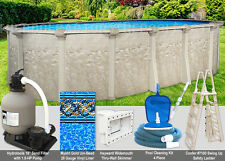"12x24 Oval 54"" High Above Ground Swimming Pool Package - Space Saving Design"