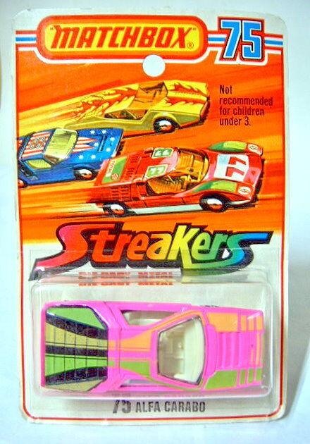 MATCHBOX sf Nº 75b ALFA CARABO rose  streaker  sur streaker étui.