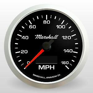 "Marshall 3-3/8"" Electronic Speedometer, Black Dial, Silver Bezel, 2052"