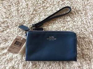 8c397ea962 Details about NWT COACH F64581 Smooth Leather Double Corner Zip Wristlet  Wallet BLUE READ SHIP