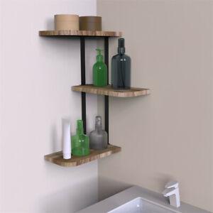 Rustic Wood Corner Shelf Home Display Storage Rack Wall Floating Shelf 3 Tier AU
