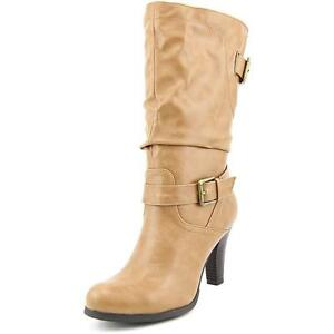 HWXT05-Women's Tan Mid-Calf Boot With Stacked Heel and Fringe Detail