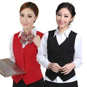 Ladies-Formal-Work-Dress-Suit-Vest-Sleeveless-Cafe-Bar-Waitress-Waistcoat-Gilet