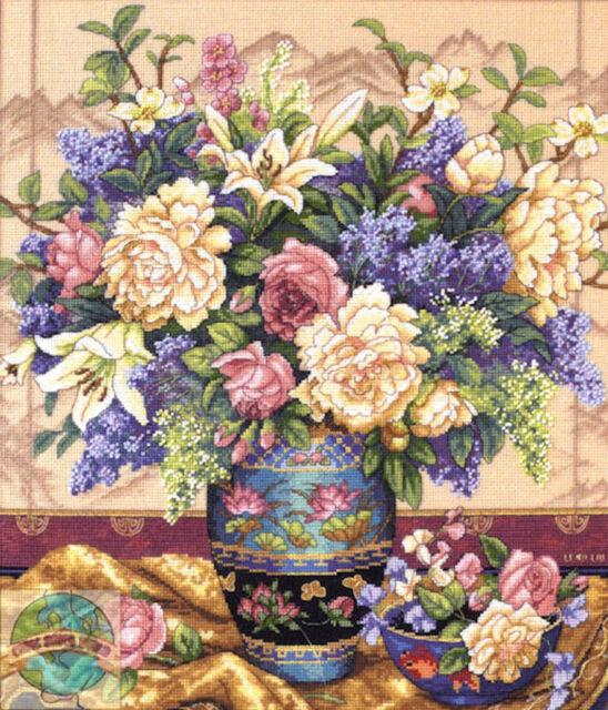 Cross Stitch Kit ~ Gold Collection Oriental Splendor Flower Vase #35163