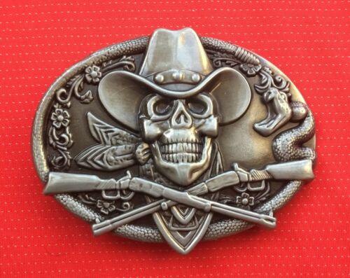 WESTERN CROSSED RIFFLE GUNS GUN SKELETON SKULL COWBOY HAT WILDWEST BELT BUCKLE 2