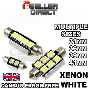 CAR LED BULBS ERROR FREE CANBUS 31/36/39/41mm WHITE FESTOON INTERIOR