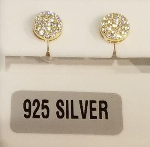 925 or vermeil 1//4 carat poids total chaque Boucle d/'oreille Micro Pave Rond Zircone cubique boucles d/'oreilles Clou