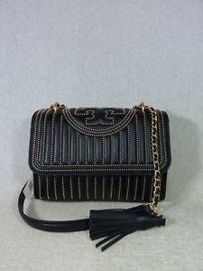 7ac7881ba2fd NWT Tory Burch Black Fleming Mini-Stud Small Convertible Bag  598