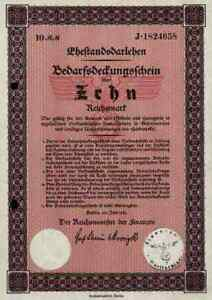 Ehestandsdarlehen-1933-Deutsches-Reich-10-Reichsmark-Graf-Schwerin-von-Krosigk