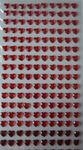 280 in total 6mm Adhesive Red Heart Gems