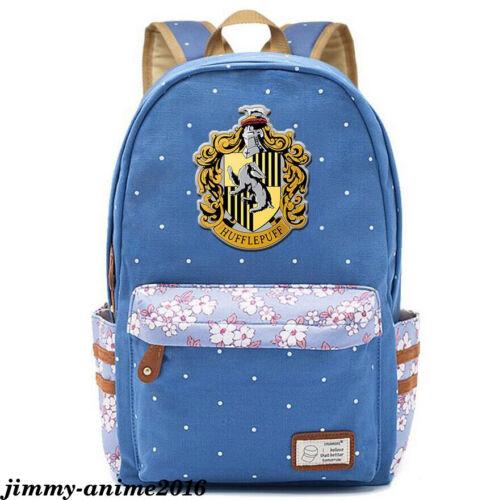Harry Potter Hufflepuff Backpack canvas Schoolbag Rucksack Boys Girls Travel Bag