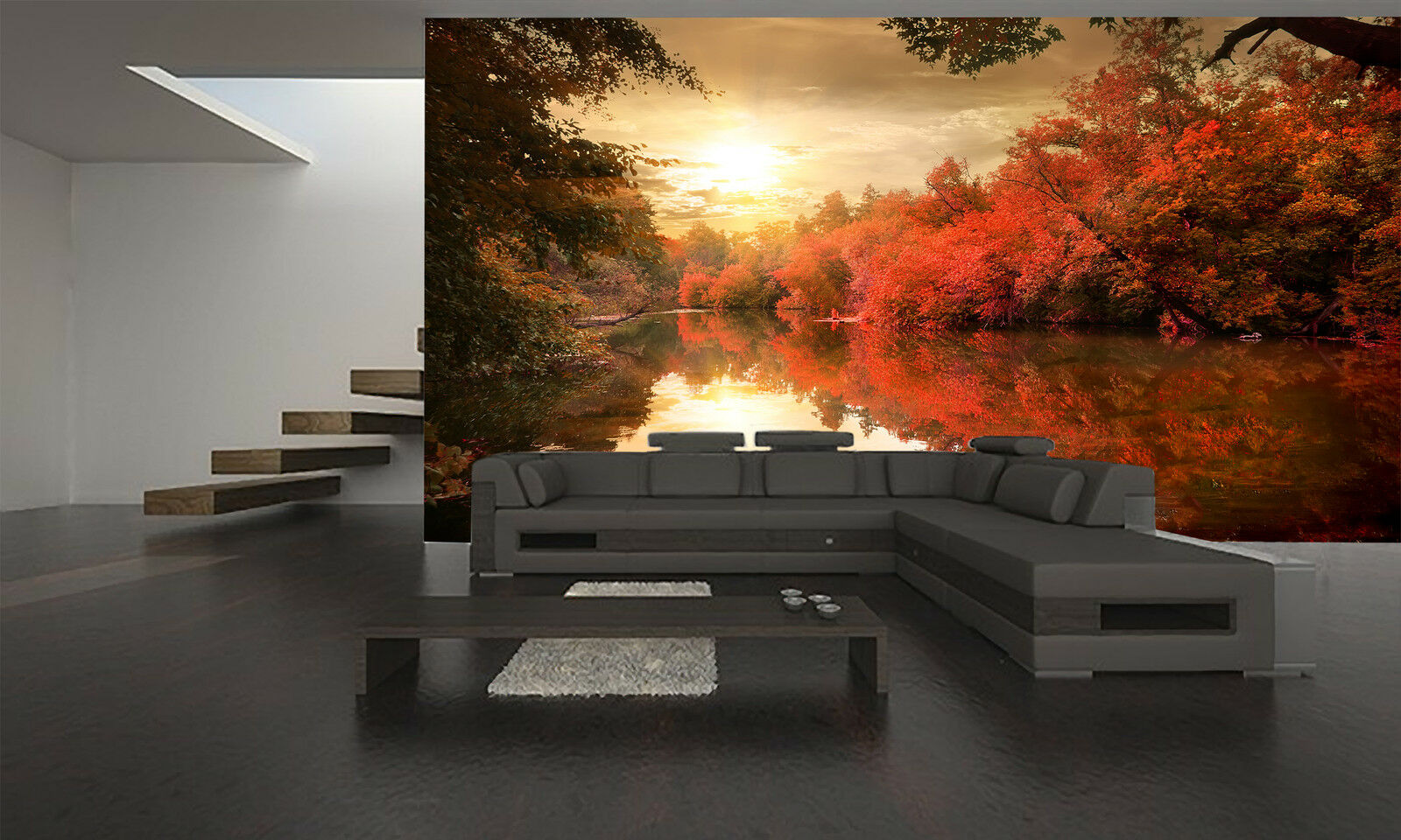 Autumn Sunset Over River Wall Mural Photo Wallpaper GIANT DECOR Paper Poster