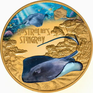 Niue-2021-STINGRAY-Deadly-amp-Dangerous-Shark-100-1-Oz-Pure-Gold-Color-Proof