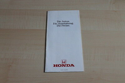 Preise & Extras Prospekt 05/1986 106854 Honda Civic Crx Prelude Accord