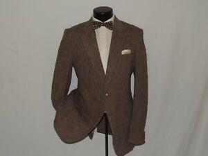 HARRIS-TWEED-Robinson-men-039-s-Brown-tweed-heavy-Scottish-wool-coat-jacket-40-R