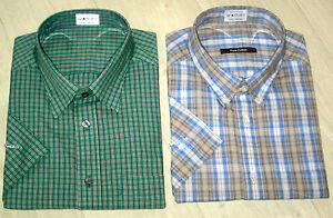 MENS-MARKS-amp-SPENCER-SHORT-SLEEVE-COTTON-SUMMER-CHECK-CASUAL-SHIRT-SIZE-S-XXL
