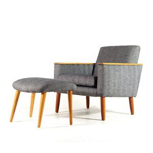 Retro-Vintage-Danish-Modern-Teak-Lounge-Chair-Easy-Armchair-Footstool-60s-70s