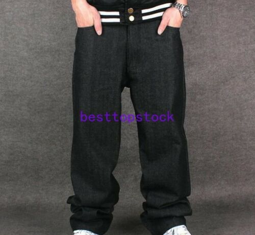 Mens Casual Jeans HipHop Pants Pants Baggy Loose Streetwear Hip-Hop Trousers sz