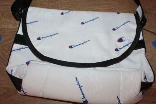 Champion shoulder bag in black white all over logo crossbody bag for men women