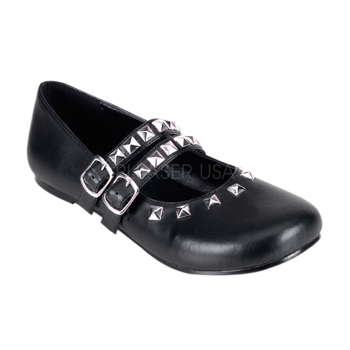 Demonia Daisy 13 Ladies shoes Ballet Flat 2 Buckle Strap Studded Silver Black