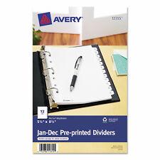 Avery Preprinted Tab Dividers 12 Tab 8 12 X 5 12 11315